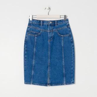 Sinsay - Spódnica jeansowa midi - Niebieski
