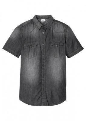 Koszula dżinsowa, krótki rękaw, Slim Fit bonprix szary denim