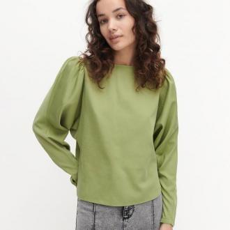 Reserved - Bluzka z bufiastymi rękawami - Zielony