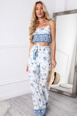 Kremowo-niebieski zestaw spodnie i top w stylu boho 9874