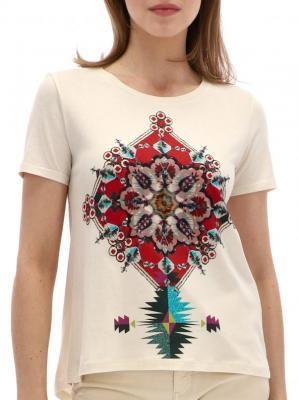 T-shirt z ozdobnym nadrukiem Desigual ALESSIA