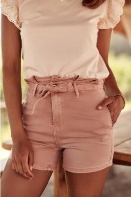 Krótkie spodenki jeansowe różowe 66000