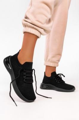 Czarne sneakersy na platformie buty sportowe sznurowane Casu 7040-1