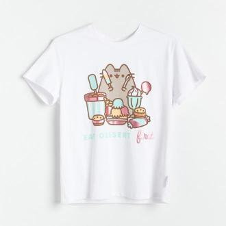 Reserved - T-shirt z nadrukiem Pusheen - Biały