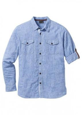 Koszula z lnem, długi rękaw bonprix niebieski melanż