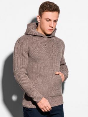 Sweter męski E181 - brązowy - XXL