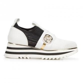 Damskie sneakersy skórzane na platformie ażurowe