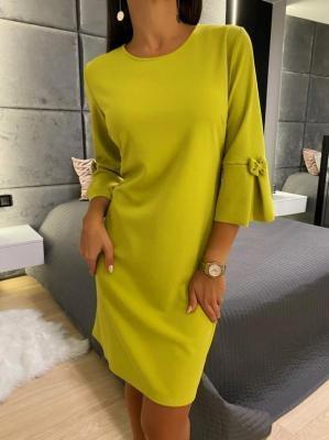Limonkowa Sukienka z Ozdobnym Rękawkiem 6654-07-F