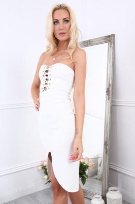 Sukienka z wiązaniem kremowa ZZ222