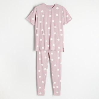 Reserved - Bawełniana piżama w grochy - Brązowy