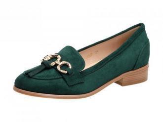 Zielone lordsy, mokasyny damskie VINCEZA 10585