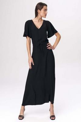 Czarna Długa Sukienka  z Motylkowym Rękawkiem