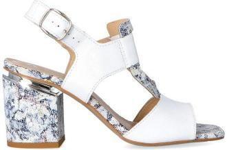 Sandałki na designerskim obcasie - TYMOTEO GARI BIAŁE