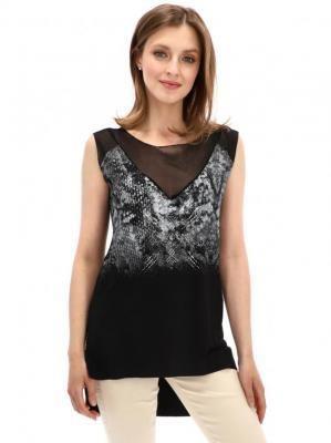 Czarna bluzka z wydłużonym tyłem Desigual BASTTI