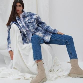 Reserved - Jeansy mom fit - Granatowy