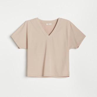 Reserved - Gładki t-shirt z dekoltem V - Kremowy