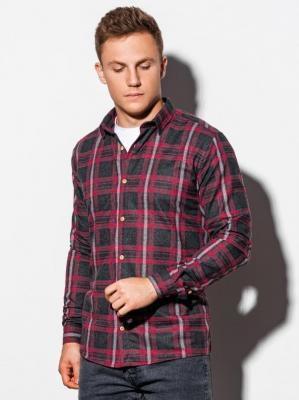 Koszula męska w kratę z długim rękawem K562 - czerwona - M