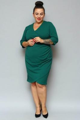 Sukienka na święta kopertowa ołówkowa ALANA drapowanie talii butelkowa zieleń PROMOCJA