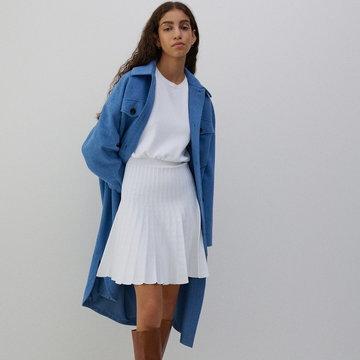 Reserved - Dzianinowa sukienka mini - Kremowy