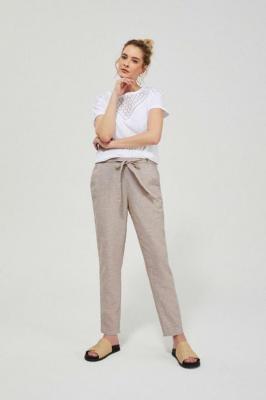 Lniane spodnie z wiązaniem