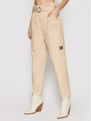 Tommy Jeans Spodnie materiałowe Tjw Paperbag Cargo DW0DW09741 Beżowy Regular Fit