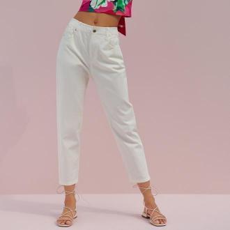 Reserved - Spodnie mom fit - Biały