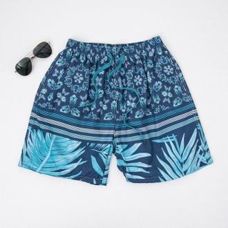 Granatowe wzorzyste męskie sportowe spodenki szorty - Odzież