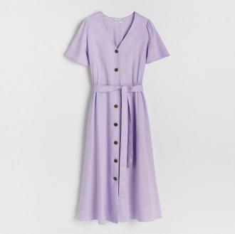 Reserved - Sukienka z wiskozy i lnu - Fioletowy