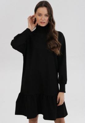 Czarna Sukienka Dzianinowa Raipheia