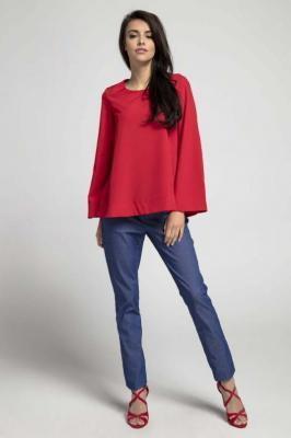 Czerwona Bluzka Oversize Zapinana na Plecach
