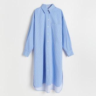 Reserved - Koszulowa sukienka midi - Wielobarwny