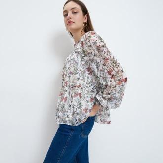 Mohito - Szyfonowa bluzka w kwiaty - Biały