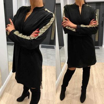 Czarna Sukienka z Cekinowym Lampasem 6832-506-B