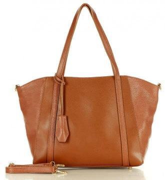SUSANA Shopper bag skórzana torebka na ramię trapez - MARCO MAZZINI brąz camel