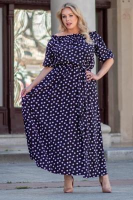 Sukienka urocza letnia hiszpanka długa z rozcięciem ASTRA białe groszki na czarnym tle