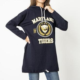 Granatowa młodzieżowa bluza z kapturem i printem - Odzież