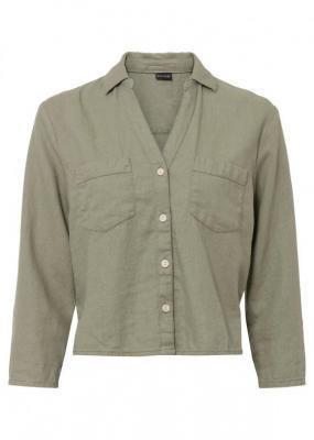 Bluzka lniana bonprix oliwkowy