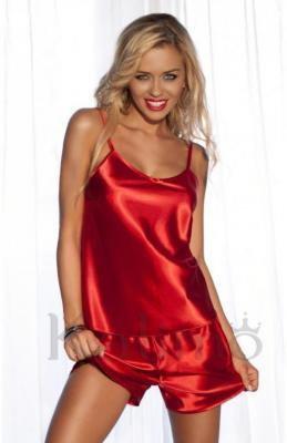Komplet satynowy VENICE spodenki, koszulka - piżama - czerwona