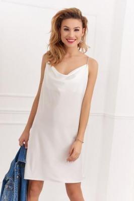Bieliźniana sukienka z ozdobnymi ramiączkami biała 33300