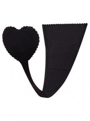 Majtki damskie samoprzylepne czarne z sercem  XL