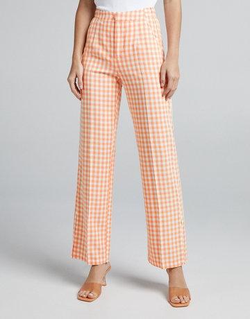 Bershka Lniane Spodnie O Prostym Kroju W Kratkę Vichy Kobieta 32 Pomarańczowy