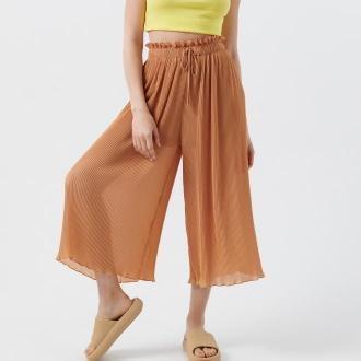 Cropp - Plisowane spodnie kuloty - Brązowy