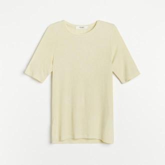 Reserved - PREMIUM Bluzka z prążkowanej dzianiny EcoVero™ - Zielony