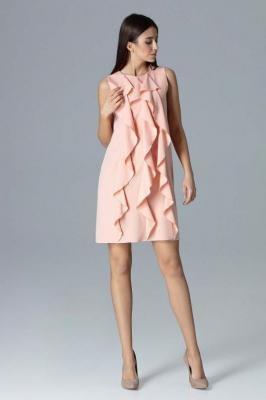 Różowa Wyjściowa Sukienka Trapezowa z Pionowymi Falbankami