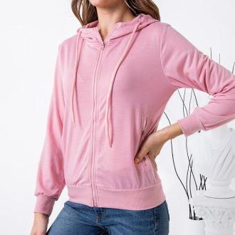 Różowa damska rozpinana bluza - Odzież
