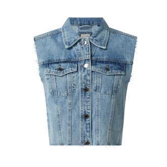Kamizelka jeansowa krótka z bawełny model 'Cinthya'