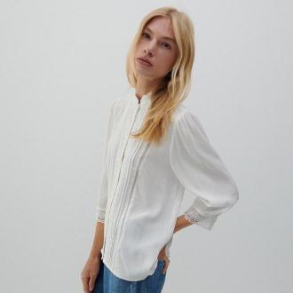 Reserved - Bluzka z wiskozy - Kremowy