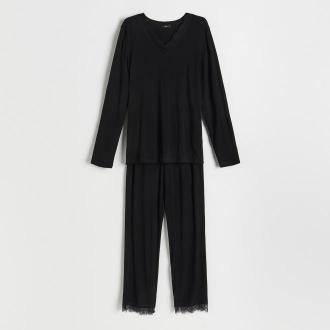 Reserved - Wiskozowa piżama z koronką - Czarny