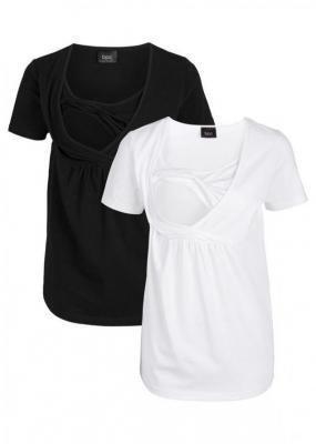 Shirt ciążowy i do karmienia (2 szt.) bonprix czarno-biały