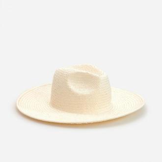 Reserved - Pleciony kapelusz - Kremowy